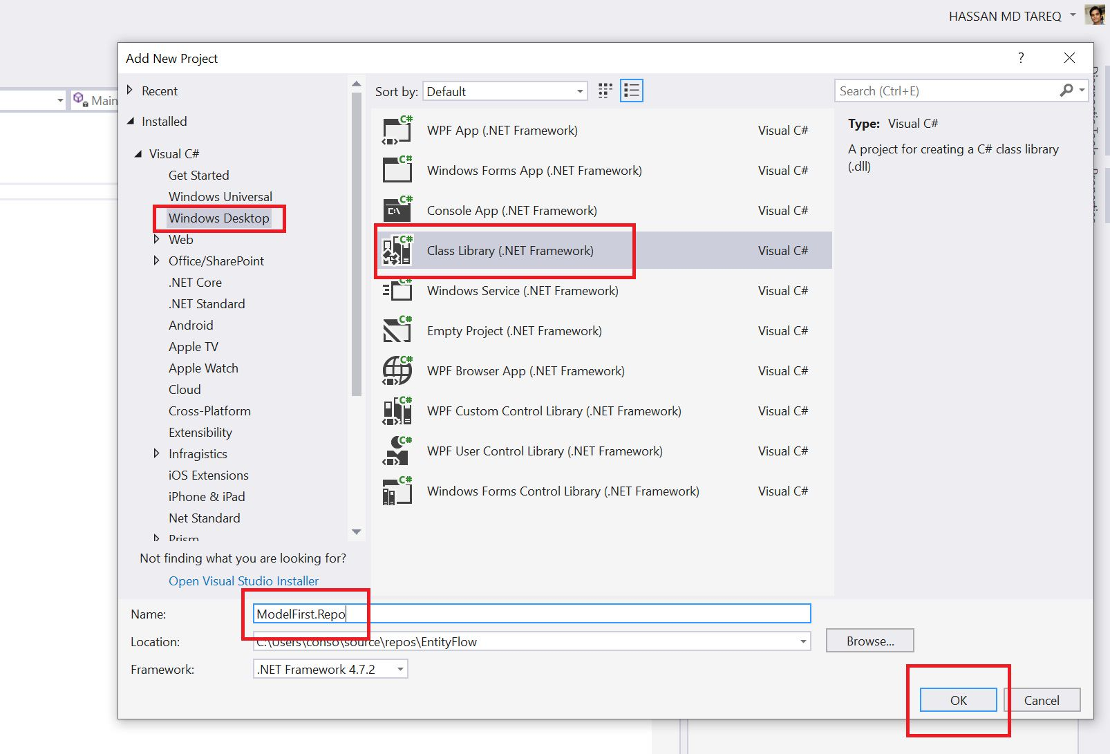 Entity Framework Model Fisrt Approach - Creating edmx Step 2